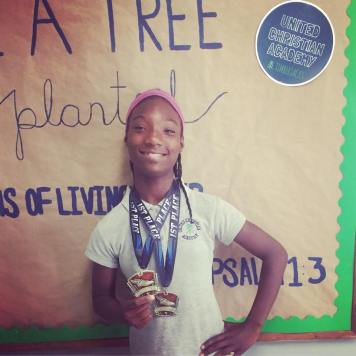 Kamya placed FIRST at a National Homeschool Track Meet!
